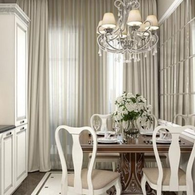 Образец интерьера кухни беж со шторами