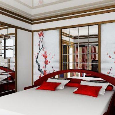 Шикарная спальня в красных тонах