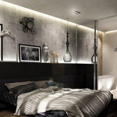 Спальня лофт стиля в интерьере дизайна