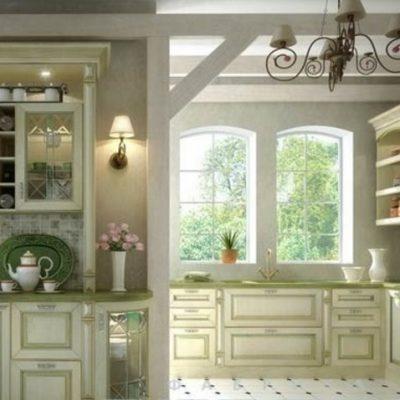 Кухня прованс стиля с обоями