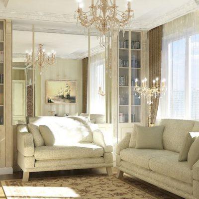 Гостиная просторная классика стиля