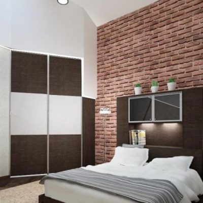 Кирипичная стена в спальне