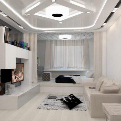 Модный хай тек стиль в интерьере гостиной