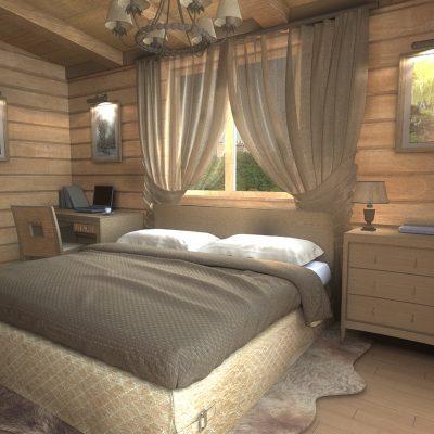 Отделка деревом стен спальни шале