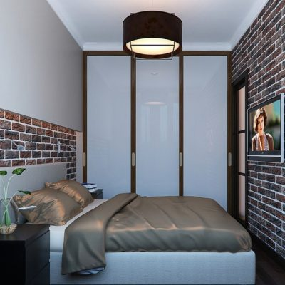 Потолок в стиле лофта в интерьере спальной комнаты на фотографии с примером