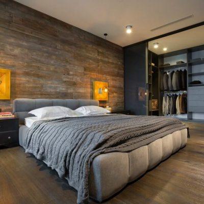 Спальня лофт стиля в интерьере дизайна на фото примере