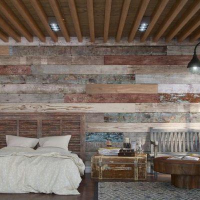Спальня лофт стиля в интерьере дизайна на фото