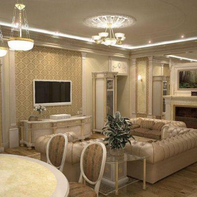 Гостиная просторная классика стиля современности