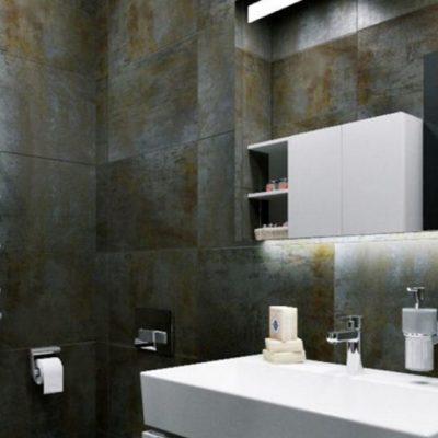 Черная отделка в ванной