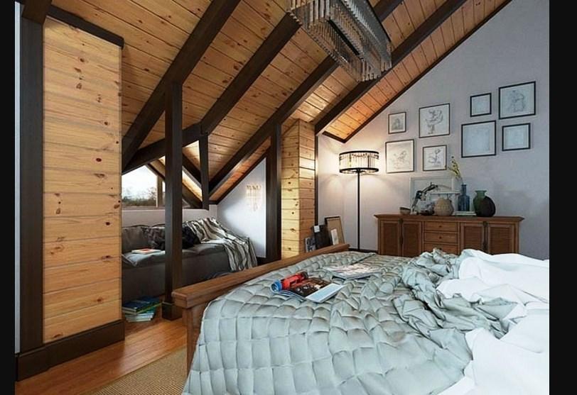 Спальня на мансарде шале стиля на фото примере
