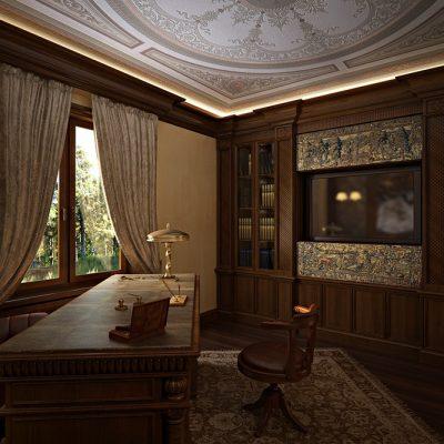 Закрытые шторы в кабинете