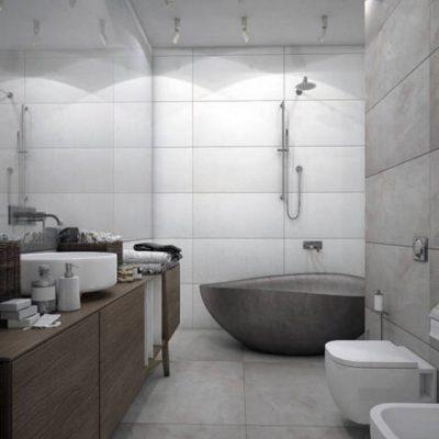 Серый стиль ванной