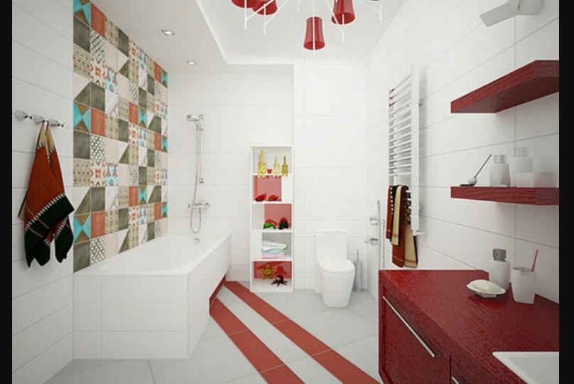 Красный акцент в ванной