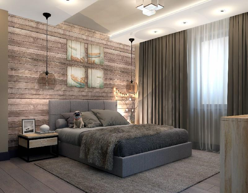 Освещение спальни в лофт стиле светильниками