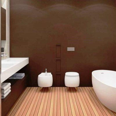 навесная раковина в интерьере ванной комнаты в стиле минималзма