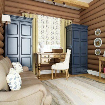 Просторная спальня шале стиляв интерьере