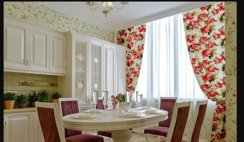 Красные шторы в прованс кухне