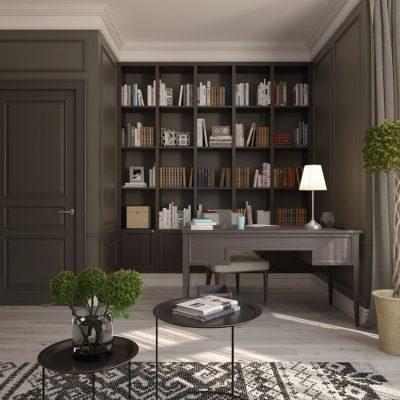 Детали кабинета классики стиля на фото с растениями