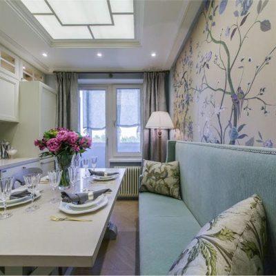 Кухня прованс стиля с обоями на стенах на фото примере