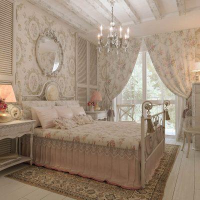 Нежные шторы в спальной комнате