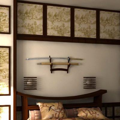Японский стиль спальни в интерьере на фото