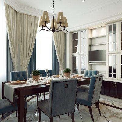 Современная неоклассика стиля в интерьере кухни на фото