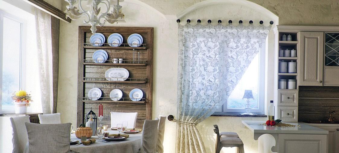 Кухня с тарелками на фотл