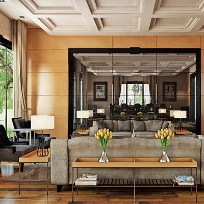 Мебель для гостиной в духе неоклассики в стильной гостиной