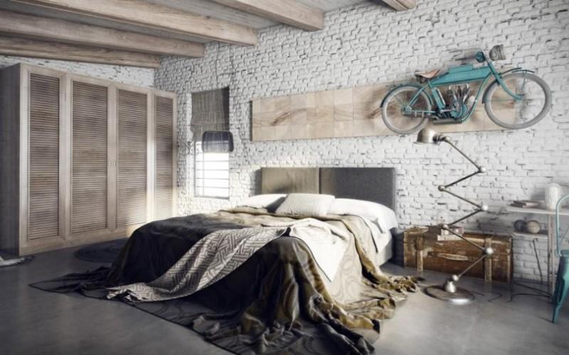 Интересная спальня в стиле лофт