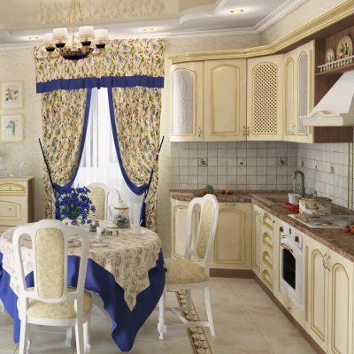Шторы прованс стиля на кухне