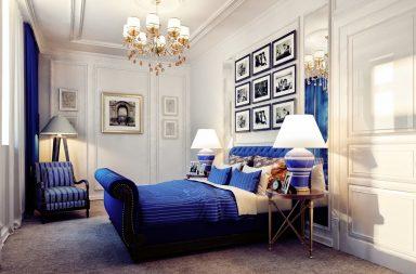 Стильная синяя спальня