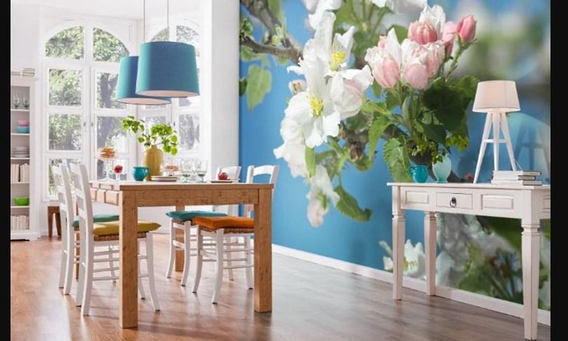 Фотообои в прованс стилев интерьере кухни с цветами