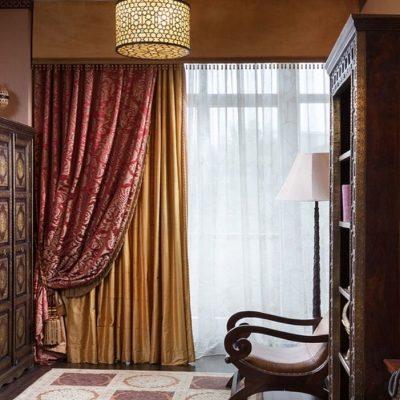 Шторы в спальную комнату японского стиля