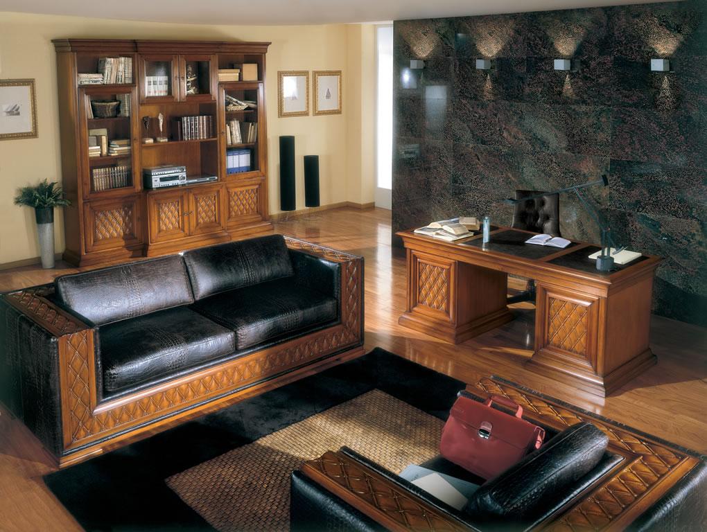 Кожаный диван в кабинете