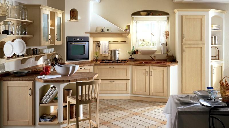 бежевая мебель в кухонном интерьере