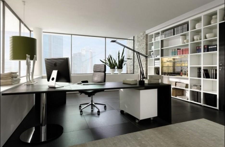 Интерьер кабинета с мебелью в черном цвете