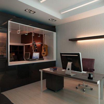 Уютная мебель в кабинете руководителя домашнего вида