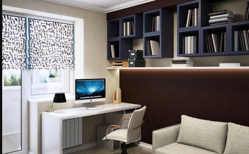 Коричневый кабинет с мебелью