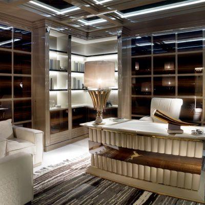 Кабинет со вкусом обставленный мебелью на примере фото