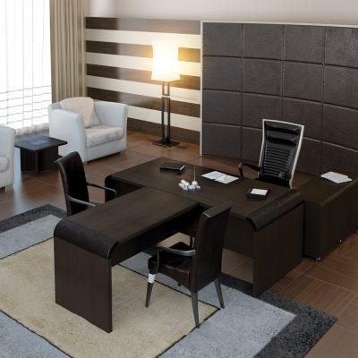 Кабинет со вкусом обставленный мебелью на примере