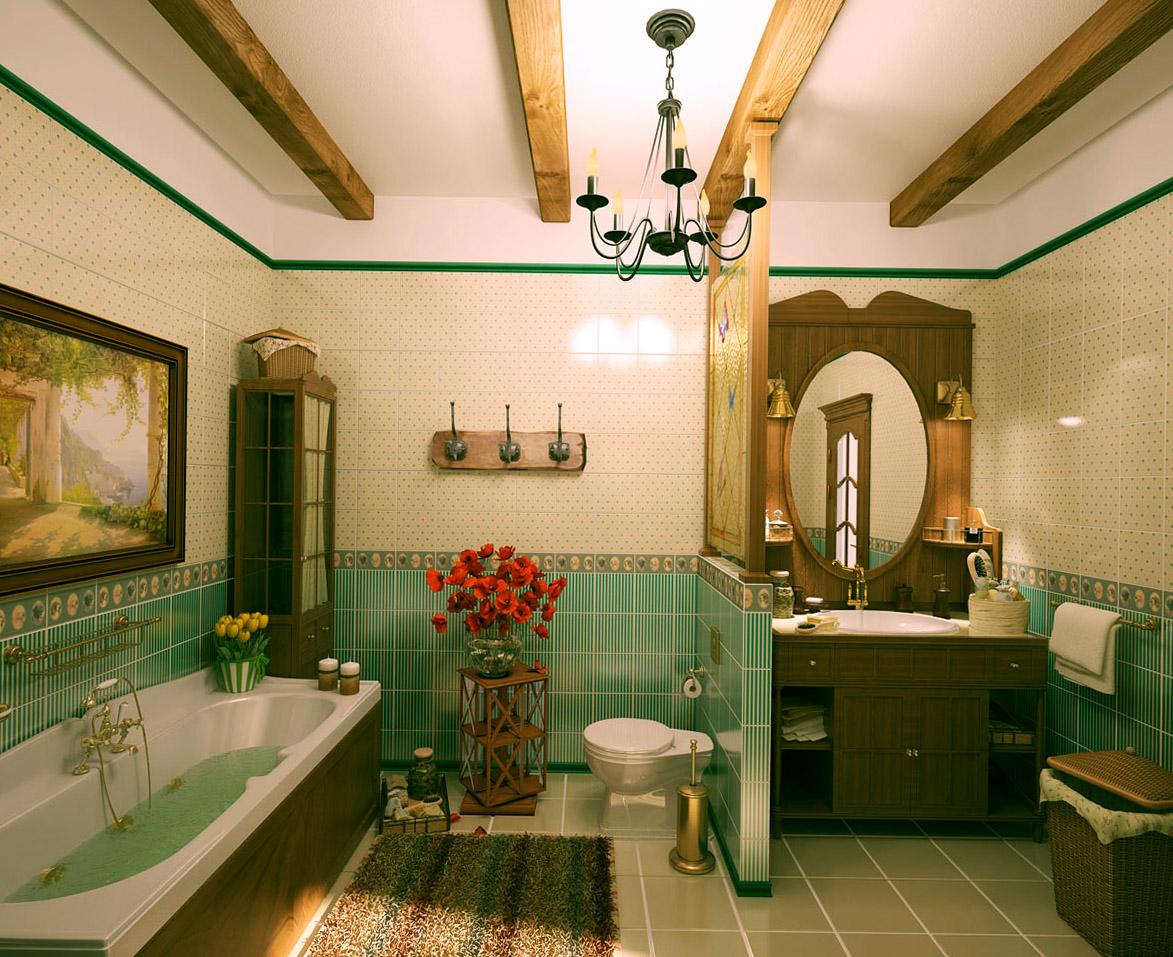 Отделка интерьера ванной комнаты кантри стиля