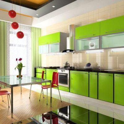 Яркая зеленая кухня