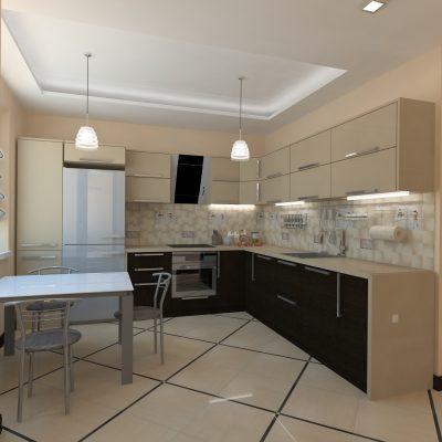 Кухня цвета кофе
