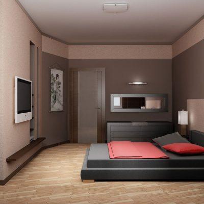 Спальня комната с картинами по фен шуй