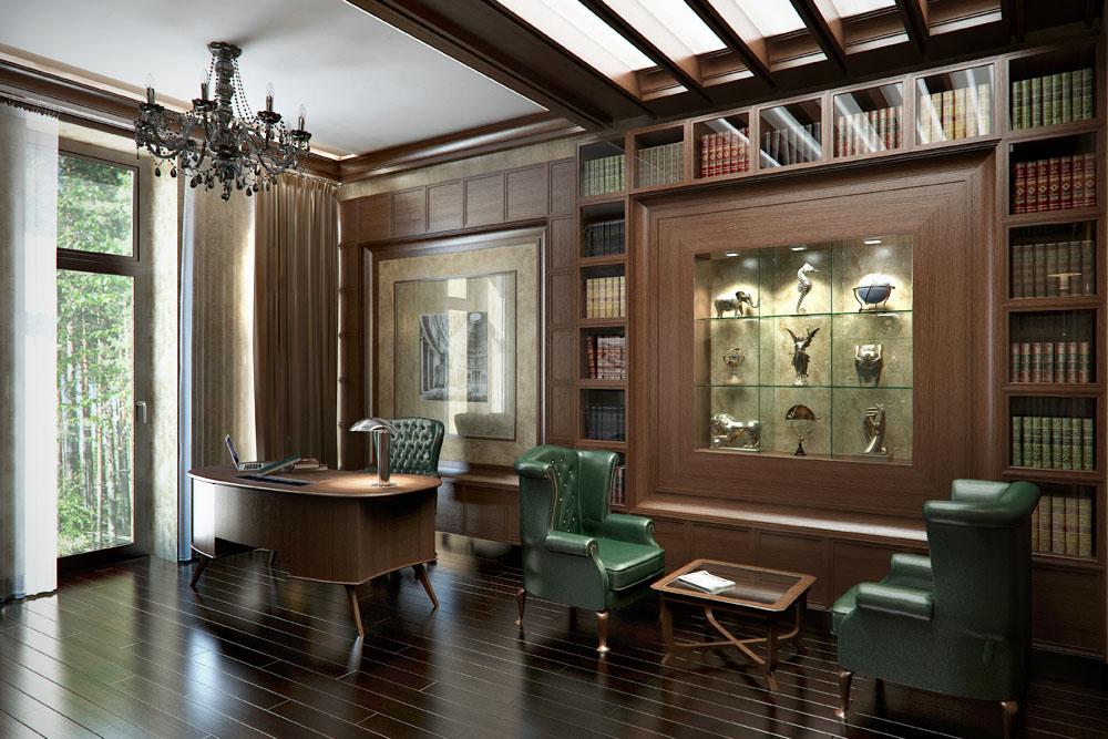 Помимо рабочей зоны в кабинете стоит организовать зону отдыха, разместив в ней столик, кресла или диван