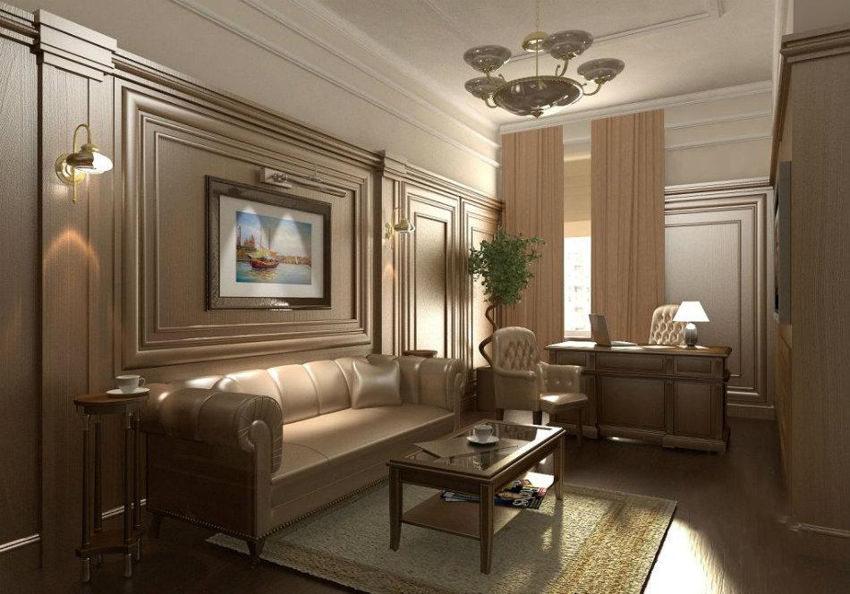 Мягкая кожаная мебель отлично сочетается с классическим стилем интерьер