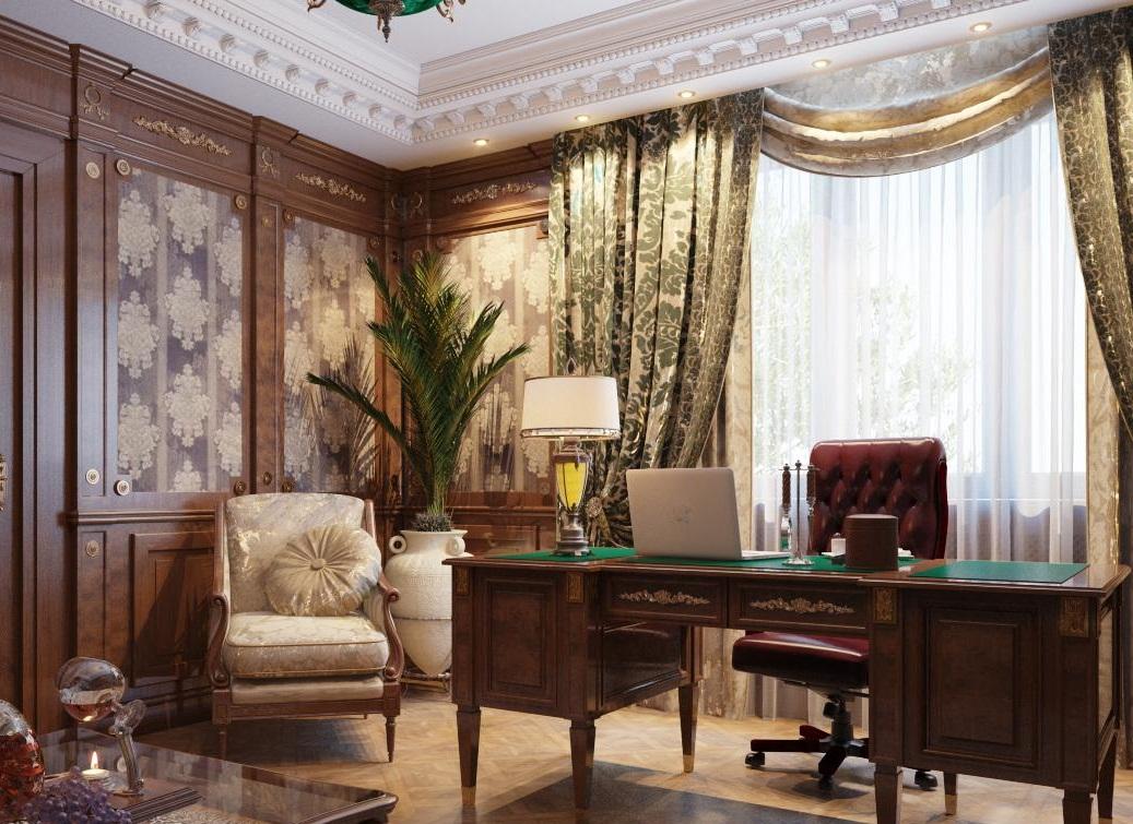 Для кабинета в классическом стиле подойдут тяжелые партьеры из жаккарда, дополненные простым ламбрекеном и легкой гардиной