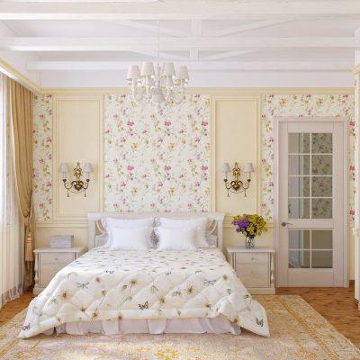 Прованс стиль обоев в интерьере спальной