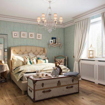 Прованс стиль обоев в интерьере спальной комнаты на фото примере