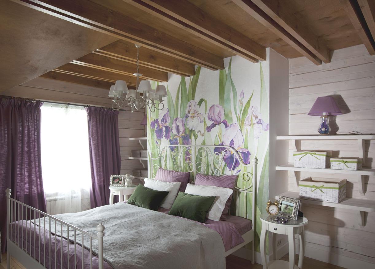 Интерьер спальной комнаты с фотообоями
